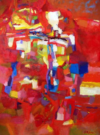 Rött landskap 60x80 cm Såld
